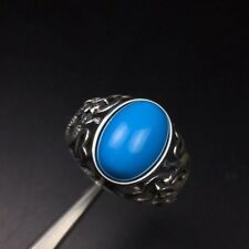 Ring Chinese Dragon Free Postage Natural Blue Turquoise Stone Men's Silver