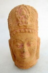 Antique Old Solid Sand Stone Hand Carved Hindu God Head Face Small Figure Statue