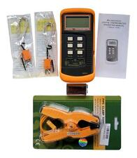Dual channel K Type Digital Thermocouple Thermometer 6802 II, + Pipe Clamp, HVAC