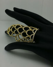 Yellow Gold 925 over Sterling Silver Covered Mesh Ring Size 6,7, 8 Retails $400
