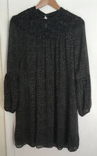 Zara Ladies Black Spot Long Sleeve Bubble Sleeve Smock Dress Size M