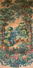 GREAT LANDSCAPE WITH DEER. PRINTED PAINTING ON FABRIC. ESPAÑA. END  XIXTH.
