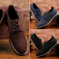 Men's Oxfords Suede Leather Dress Shoes Lace Up Casual Flats Business Work Shoes
