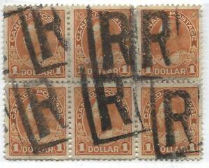 Canada KGV $1 orange Admiral used block of 6