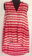 Calvin Klein Women's Red Orange White Top Shirt Size S NWT $69