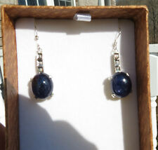 Estate Custom Huge 28 carat cabochon Sapphire Diamond 14k gold & SS earrings