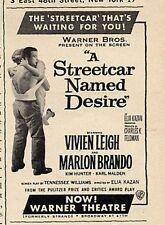 "1951 Warner Theatre Broadway ""A Streetcar Named Desire"" Brando Liegh Print Ad"