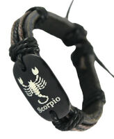D1222 Scorpio surfer adjustable black leather bracelet with hemp chain hot