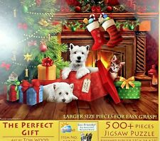 """SunsOut Jigsaw Puzzle 500 pcs """"The Perfect Gift"""" Tom Wood Christmas Scottie Pups"""