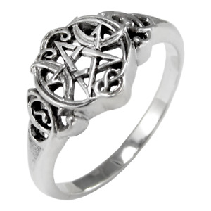 Sterling Silver Heart Pentacle Wiccan Pentagram Ring - Dryad Design Pagan Wiccan