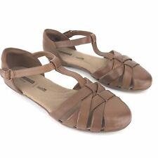 Clarks 7.5 W Dark Tan Gracelin Art Leather T Strap Fisherman Sandal Shoes