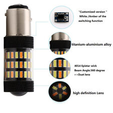 1 Pair 1157 4014 360° Beam 60SMD Dual Color Switchback LED Turn Signal Lights