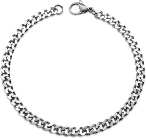 Silvadore 4mm CURB Mens Necklace Silver Chain Cuban - Stainless Steel Jewellery
