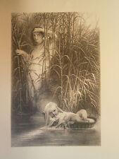 Planche gravure Moïse exposé sur le Nil d'aprés Paul Delaroche Graveur Henriquel