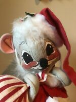 Annalee Santa Mouse Christmas Toy Sack Beard Santa Hat Curly Tail 13 inches Tall