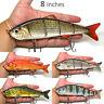 "6"" 8"" 10"" Multi Jointed Bass Muskie Pike Striper Fishing Bait Swimbait Lure NEW"