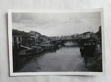 Vintage 40s/ 1947 B/W Photograph. Singapore #3. Bridge over River. Junks/ Homes