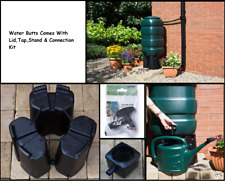 Plastic Garden Rainwater Storage Butt Barrel Container wt/Kit,Stand,Tap - Green