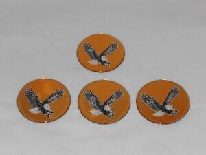 """4 - GOLD EAGLE BIRD WHEEL RIM CENTER CAP ROUND STICKER LOGO 2.75"""" 70mm DIAMETER"""