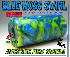 "Duck Call Acrylic BLUE MOSS Exotic Swirl Barrel Blanks with 5/8"" Bore Super Nice"