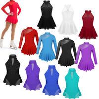 Girls Ballet Jazz Dance Dress Children Sparkle Skirted Leotard Gym Skate Costume