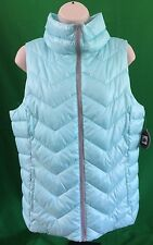 SO Perfect Puffer size Large Quilted Sleeveless Vest Aqua Breze NWT