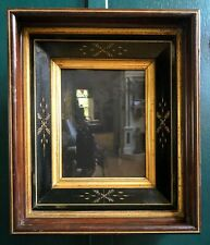 Antique Eastlake Aesthetic Victorian Spoon Carved Walnut Ebonized Picture Frame