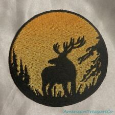 Embroidered Elk In Woods Sunset Silhouette Ombre Circle Patch Iron On Sew On USA