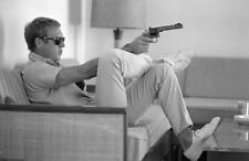 "Steve McQueen Black & White wall art printed on canvas Solid Frame  22"" x 14"""
