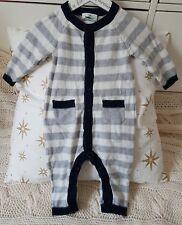 Baby Strampler Strickstrampler Schlafanzug Overall Einteiler Grau gestreift 68