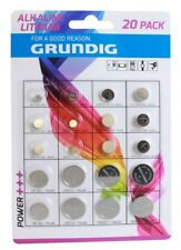 20 piles GRUNDIG AG1-AG5-AG8-AG12-AG3-AG4-AG10-AG13-CR1620-CR2016-CR2025-CR2032