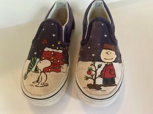 Vans Peanuts Snoopy Charlie Brown Christmas Tree Classic Slip-On Shoes Sz 12.5