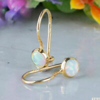 14K Solid Yellow Gold Round 4mm White Opal Drop Earrings - Summer Sale