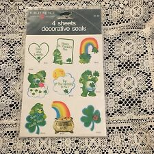 Vintage Pack Of 4 Sheets Of Stickers Sticker Care Bears Good Luck Bear Irish