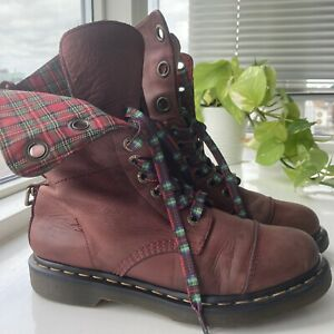 Dr Martens Triumph Aimilie Red Tartan Fold Down Leather Boots Size UK 6