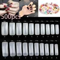 500Pcs Full Cover Nails Manicure Long Square False Finger Tips Fake Nail Acrylic