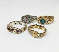 4 / Vintage Expandable Sweet Heart Bracelets Speidel Lasco Leading Lady Minerva