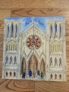 Vintage Beautiful 1950's Hallmark Christmas Advent Calendar in cathedral