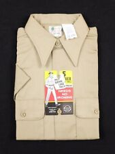 Vtg 1970s Five Brothers Beige Button Down Short Sleeve Shirt Sz 15 front pockets