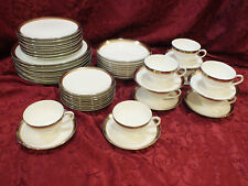 "4 x 5 pc place Setting Noritake 6524 ""Compton"" Platinum,Bronze & Gold Band China"