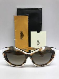 FENDI FF 0029/S 7NQHA Crystal Havana Brown Sunglasses Made in Italy Authentic