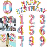 Rainbow 0-9 Number Age Helium Foil Balloons Happy Birthday Party Banner Letter