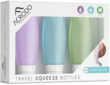Leak Proof Travel Accessory Bottles - Soft Silicone Toiletry Containers 3-Pack