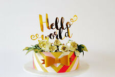 Hello world cake topper gold mirror card baby shower gender reveal party.