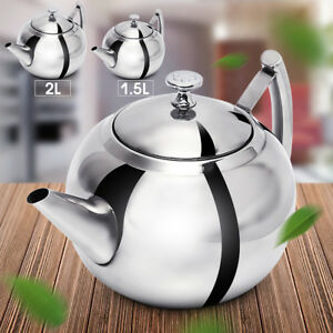 1.5L/2L Stainless Steel Teapot Tea Pot Coffee With Tea Leaf Filter Infuser z  ❀