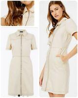 Womens Denim Mini Shirt Dress Ecru Ex M&S Collection Size 8-24 RRP £49