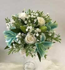 SILK WEDDING BOUQUET TEAL LILY WHITE ROSES BABIES BREATH BUTTONHOLE GREEN POSY