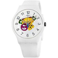 New Swiss Swatch Originals CANDINETTE White Silicone Watch 41mm SUOW148 $80