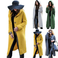 Women Ladies Cardigan Jacket Coat Hoodie Hooded Knitted Long Sweater Jumper Tops