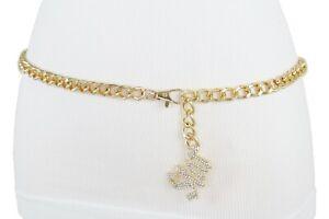 Women Rodeo Bling Silver Shiny STAR Charm Gold Metal Chain Belt Hip Waist M L XL